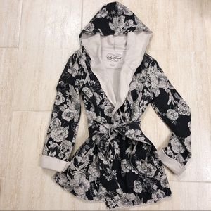 Lucky Brand Tie Black/Gray Floral Hooded Jacket S